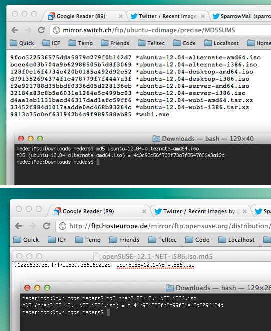 Downloads zeigen eine falsche MD5 Prüfsumme.