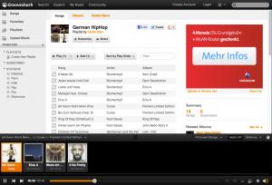Grooveshark Oberfläche