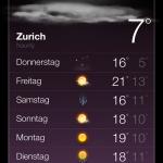 Umgestaltete Wetter App in iOS 6