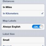 Einstellungen der Karten App in iOS 6