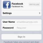 Facebook Einstellungen in iOS 6