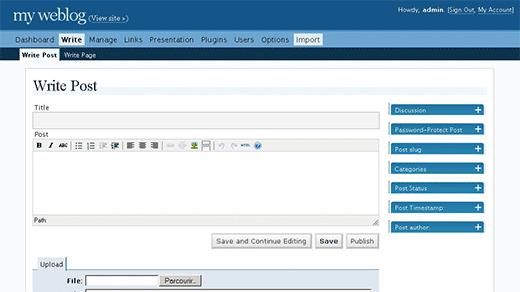 Admin Panel of WordPress 2.0