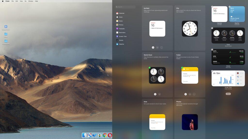 Adding widgets on macOS Big Sur